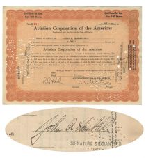 Aviation Corporation Of The Americas Issued To And Signed On Verso By John A. Hambleton
