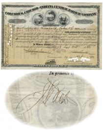 Columbus, Chicago & Indiana Central Railway Co. Issued To Leopold Cahn & Co. And Signed On Verso By Jules S. Bache As Witness