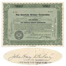 Pan American Airways Corporation Issued To And Signed On Attached Stock Assignment By John Hay Whitney