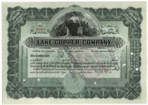 The Founder Of Paine Webber Signs A Lake Copper Company Stock Certificate