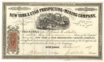 A Rare Western Mining Certificate, New York & Utah Prospecting & Mining Company