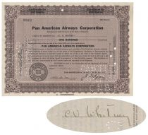 Early Pan Am Stock Issued To And Signed On Verso By Cornelius Vanderbilt Whitney