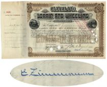 Cleveland, Lorain And Wheeling Railway Company Stock Issued To And Signed By Eugene Zimmerman