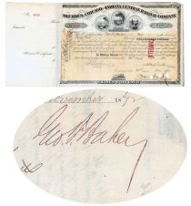 Columbus, Chicago & Indiana Central Railway Co. Issued To And Signed On Verso By George F. Baker