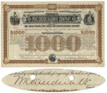 Pine Creek Railway Company Bond Signed By William K Vanderbilt As Trustee