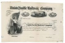 A Choice Graphic Proof Stock Certificate For The Union Pacific Railway
