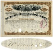 Michigan Central Railroad Bond Issued To And Signed By  William K. Vanderbilt