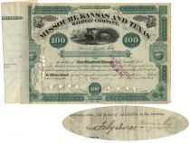 Missouri, Kansas And Texas Railway Company Stock Issued To And Signed On Verso By Russell Sage