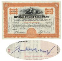 Irving Trust Co. Stock Issued To And Signed By Gustavus Swift, Jr.