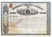 Henry Wells & James Fargo Signed American Express Co. Stock