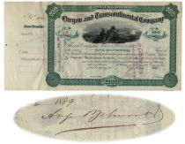 Oregon And Transcontinental Company Stock Issued To And Signed On Verso By August Belmont