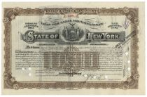 "New York ""Loan For Canal Improvement"" Bond Issued To William K. Vanderbilt Jr. - $1000"