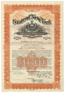 New York World War Bonus Bond For $5000 Issued To Alfred G. Vanderbilt
