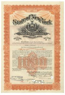 State Of New York World War Bonus Bond For $1000 Issued To George Vanderbilt