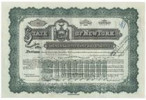 State Of New York General State Improvements Bond For $10,000 - Issued To William K. Vanderbilt Jr.