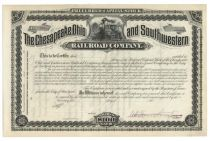 The Chesapeake, Ohio And Southwestern Railroad Company - Unissued Stock Certificate Signed By Collis P. Huntington As President