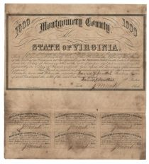 $1000 State Of Virginia Montgomery County Bond