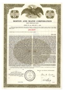 Boston And Maine Railroad - Specimen Bond