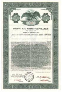 Boston And Maine Corporation - Specimen Bond