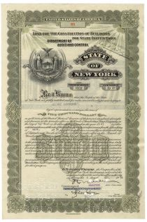 State Of New York Loan For The Construction Of Buildings For State Institutions - Issued To George Vanderbilt