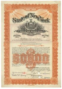 State Of New York World War Bonus Bond For $50,000 Issued To Harold S. Vanderbilt