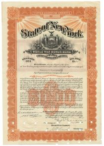 State Of New York World War Bonus Bond For $5000 Issued To Harold S. Vanderbilt