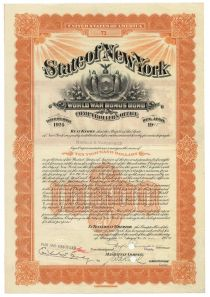 State Of New York World War Bonus Bond For $10,000 Issued To Harold S. Vanderbilt