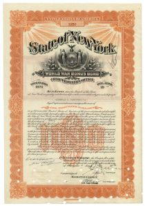 State Of New York World War Bonus Bond For $1000 Issued To Harold S. Vanderbilt