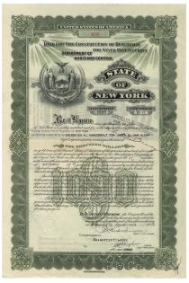 State Of New York Loan For Construction Of Buildings For State Institutions Issued To Frederick W. Vanderbilt For James H. Van Alen