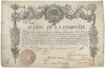 A Possibly Unique And Historically Significant Spanish Trading Company Stock Certificate Issued To The Queen Mother Of Spain, The Nation�s Most Powerful Woman Of The Period