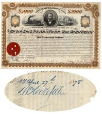 Chicago, Rock Island & Pacific Railroad Company Issued To And Signed On Verso By William Rockefeller