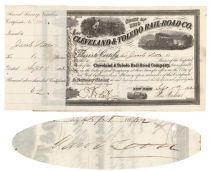 Cleveland & Toledo Rail-road Co Stock Issued To And Signed On Verso By Speculator Jacob Little