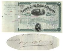Northern Pacific Railroad Co. Issued To And Signed On Verso By August Belmont