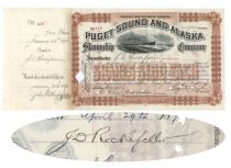 Puget Sound And Alaska Steamship Company Issued To And Signed On verso By John D. Rockefeller