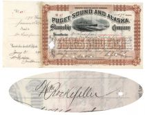 Puget Sound And Alaska Steamship Company Issued To And Signed On Verso By William Rockefeller