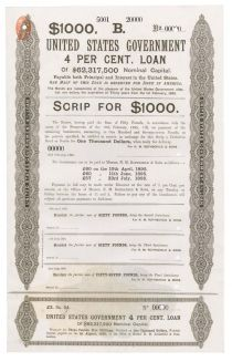 An Extremely Rare Specimen For Scrip Purchase Of The 1895 United States Government Loan Which Averted A Repeat Of The Gold Crisis Which Brought About The Panic Of 1893