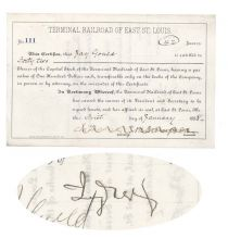 Scarce Stock Certificate Of The Terminal Railroad Of East St. Louis Issued To And Signed On Verso By Jay Gould