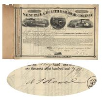 Saint Paul & Duluth Railroad Co. Issued To And Signed On Verso By Anthony J. Drexel