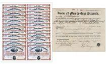 Historic Large Block Of Northern Pacific Shares Issued To  J.P. Morgan & Co. During Morgan's Reorganization Of The Struggling Railroad, Accompanied By A Transfer Reciept Signed By J. Pierpont Morgan Junior On Behalf Of The Morgan Company!