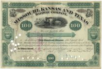 Missouri, Kansas & Texas Railway Co. Signed As President By Jay Gould