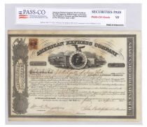 An Early American Express Company Stock Signed By Fargo, Butterfield And Holland
