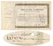 The Cuba Railraod Company Signed By William Cornelius Van Horne