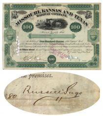 A Fine Association Of Russell Sage And Jay Gould Signing On The Same Stock Certificate