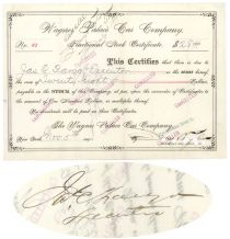 Wagner Palace Car Company Issued To And Signed By James C. Fargo