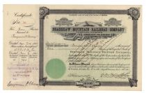 Bradshaw Mountain Railroad Company Issued To And Signed By B.P. Cheney Jr.