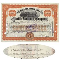 Chicago, Rock Island And Pacific Railway Compnay Signed By Charles Scribner Ii And Arthur Hawley Scribner