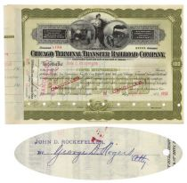 Chicago Terminal Transfer Railroad Company Issued To John D. Rockefeller And Signed By George D. Rogers On Verso
