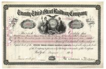 Twenty Third Street Railway Company Issued To Numerous Members Of The Widener Family