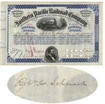 Northern Pacific Issued To And Signed On Verso By Robert C. Schenck