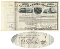 Saint Paul & Duluth Railroad Company Issued To And Signed By George F. Baker